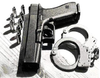 Gun with handcuffs cropped